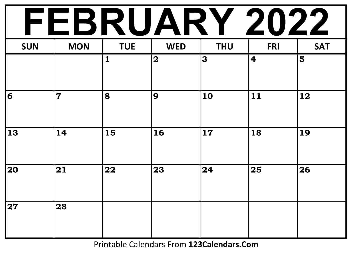 February 2021 Printable Calendar | 123Calendars