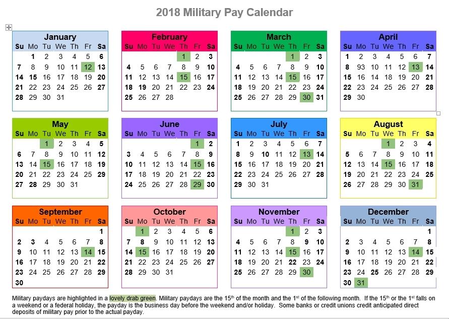 Federal Pay Calendar 2018 :-Free Calendar Template