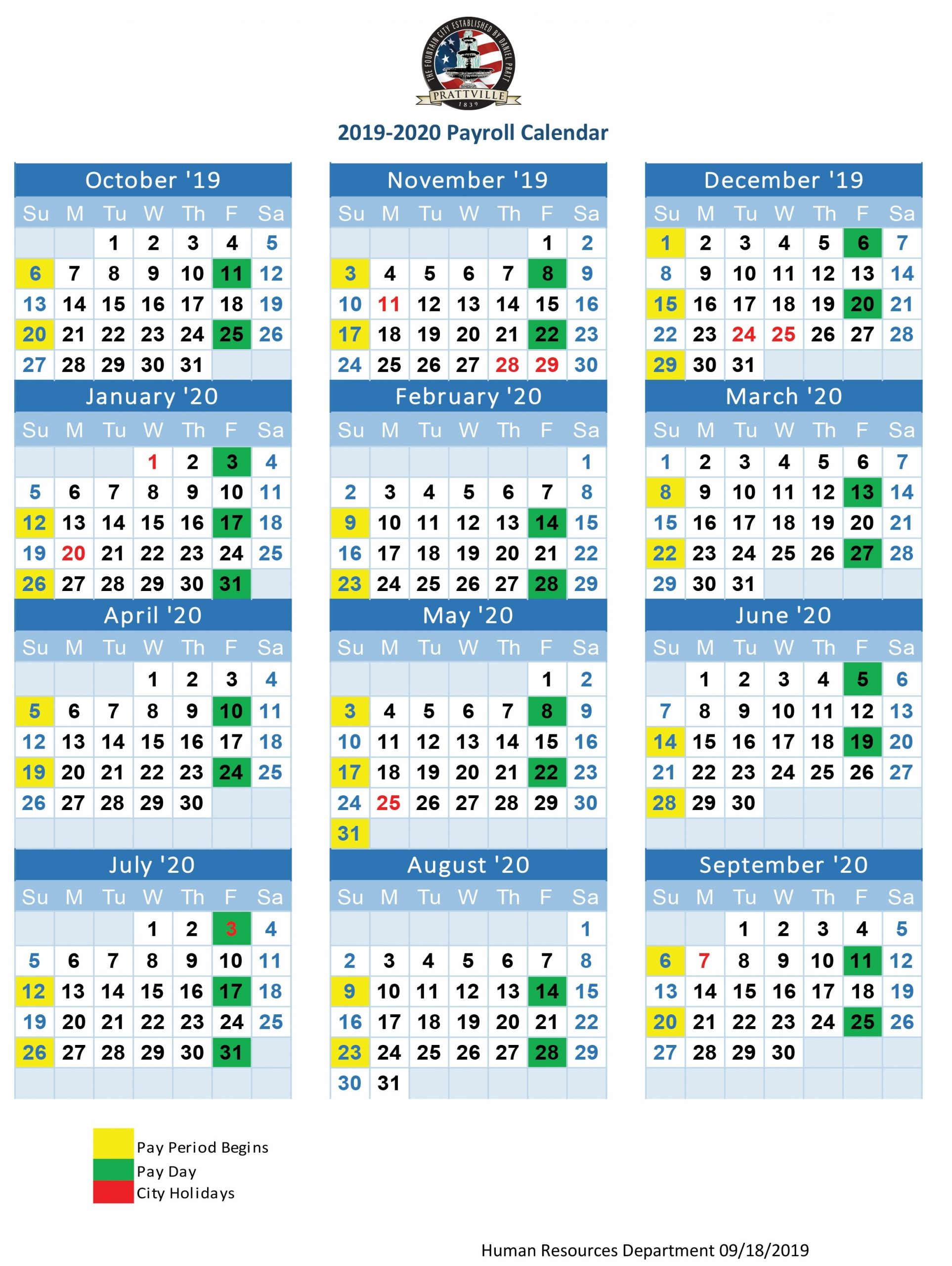Federal Payroll Calendar 2020 | Printable Calendar 2020-2021