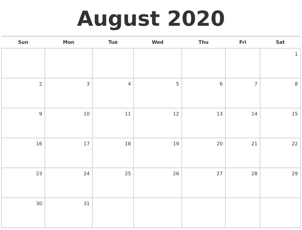 Fill In Monthly Calendar 2020   Example Calendar Printable