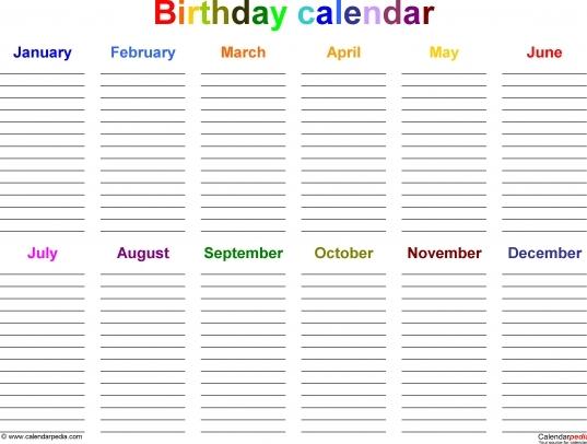 Fillable Birthday Calendar Template Excel | Printable
