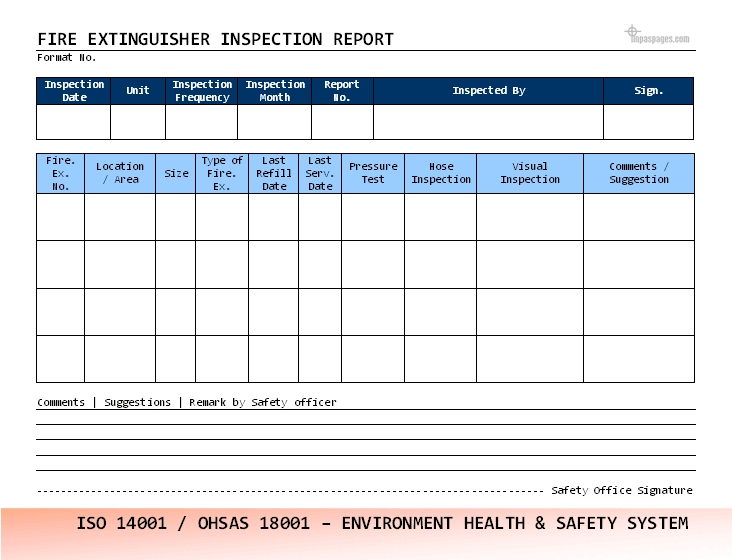 Fire Extinguisher Inspection Checklist Template