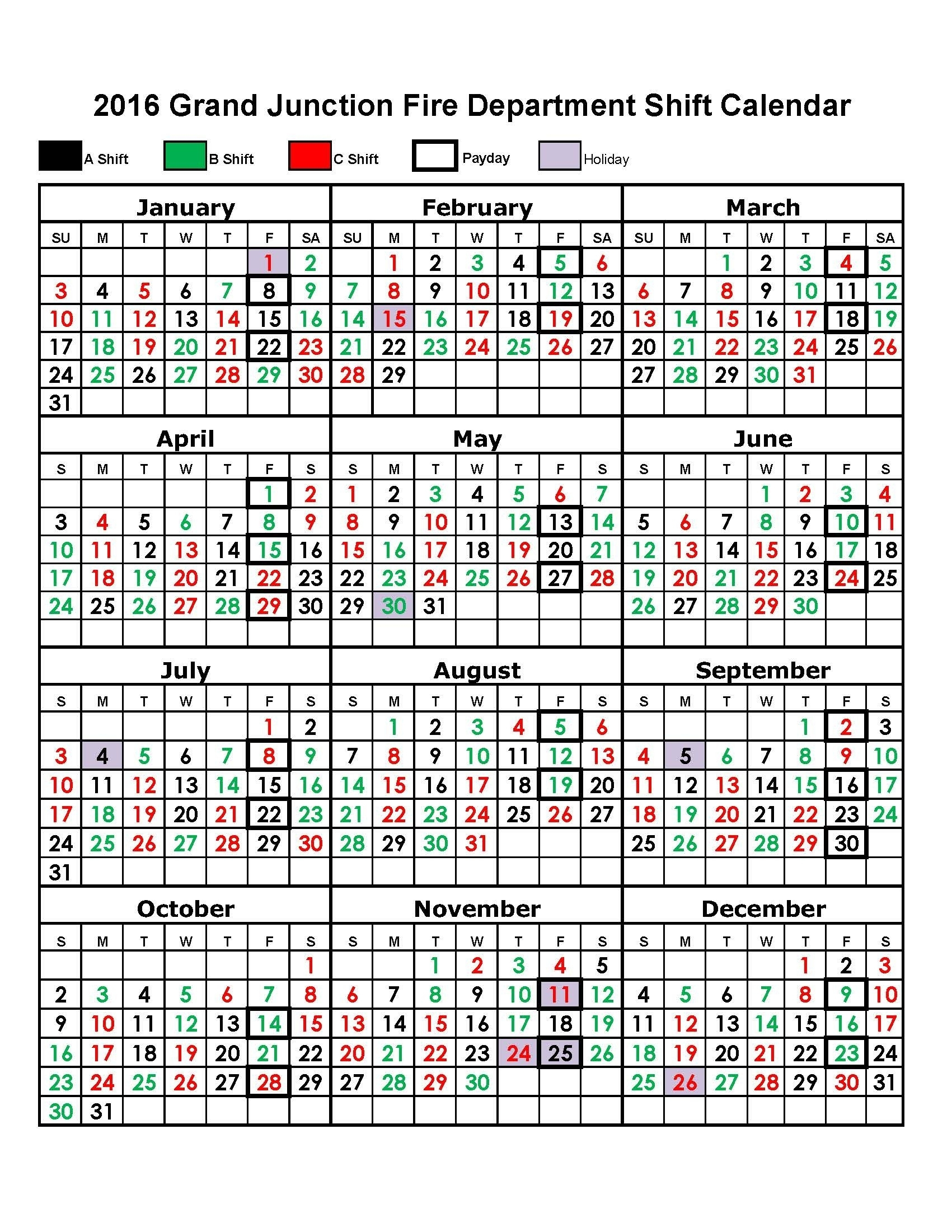 Firefighter Print Out Shift Calender | Example Calendar