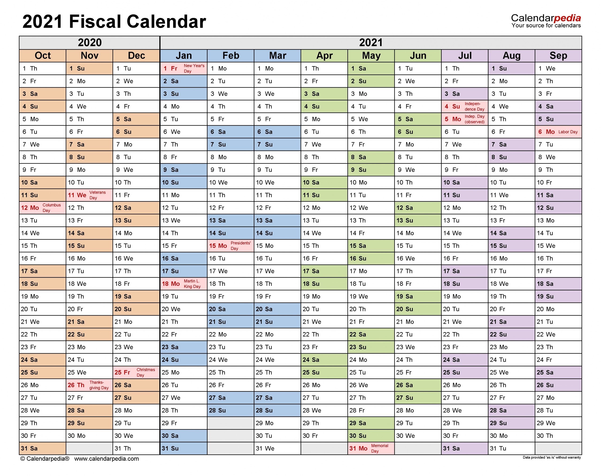 Fiscal Calendars 2021 - Free Printable Excel Templates