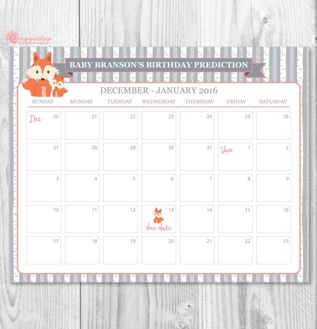 Fox Mom And Baby Guess The Due Date Calendar Baby Shower