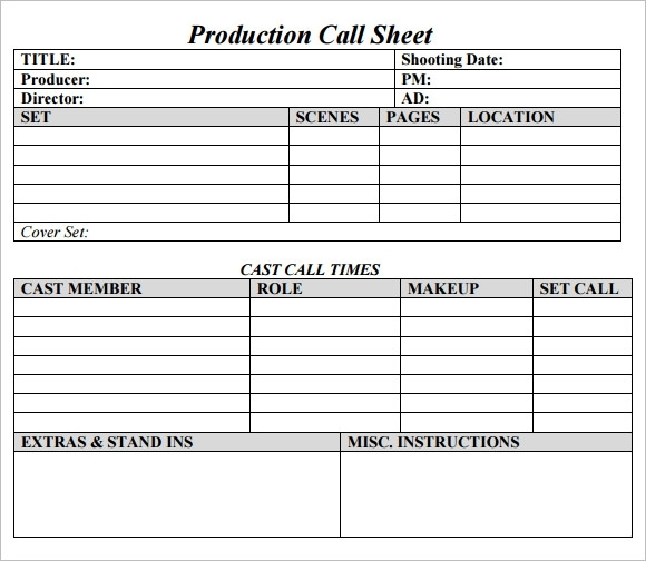 Free 10+ Sample Call Sheet Templates In Ms Word | Pdf