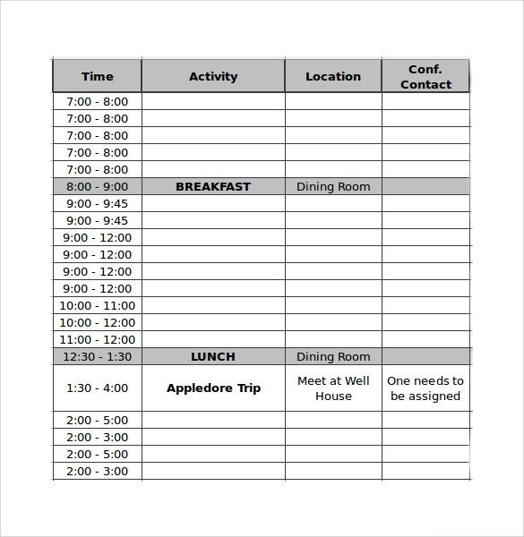 Free 16+ Sample Conference Schedules In Pdf | Ms Word