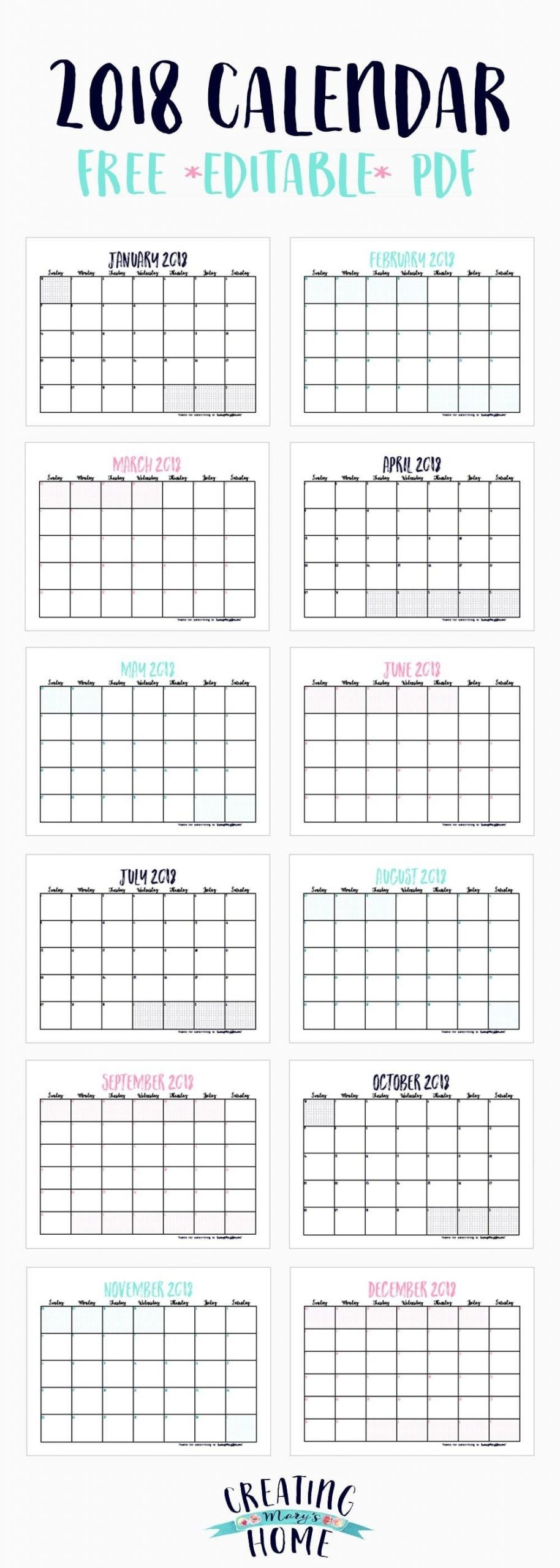Free 2018 Calendar (*Editable Pdf (With Images) | Free