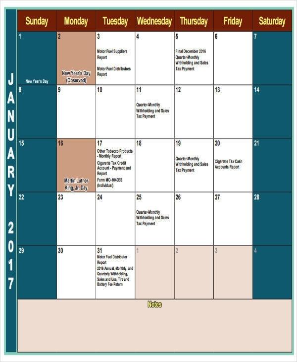Free 35+ Printable Calendar Samples & Templates In Pdf