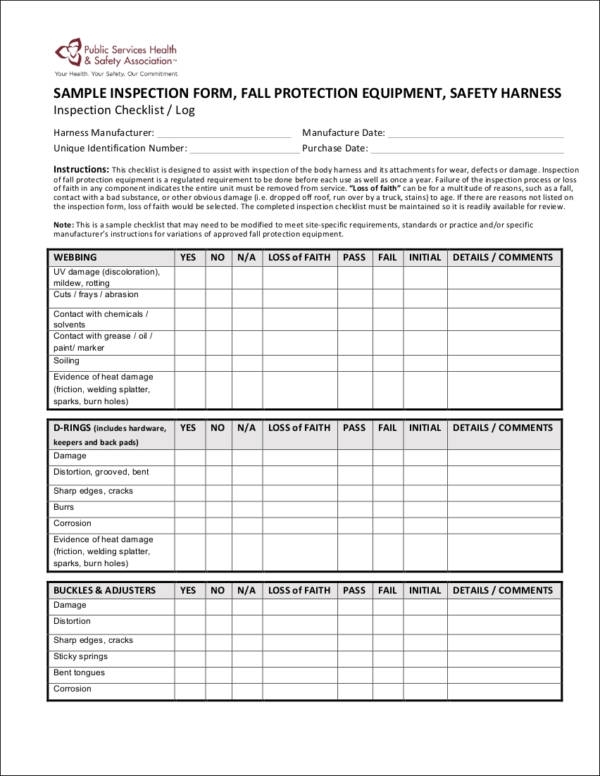 Free 7+ Equipment Checklist Samples & Templates In Excel