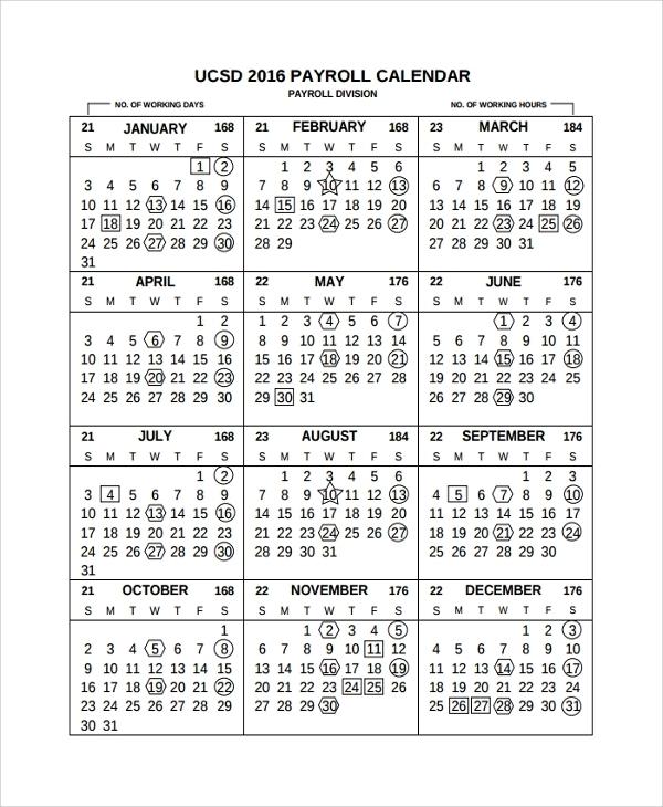 Free 9+ Sample Payroll Calendar Templates In Pdf | Excel
