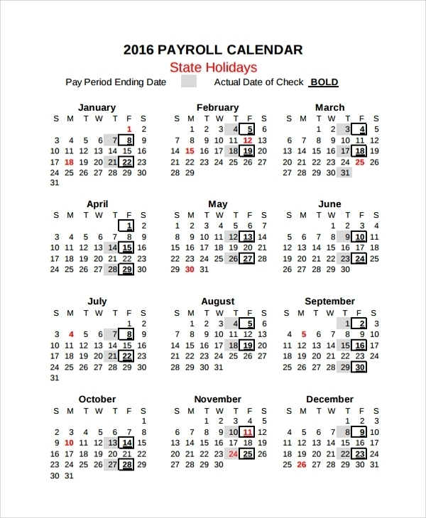 Free 9+ Sample Payroll Calendar Templates In Pdf | Excel