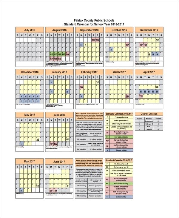 Free 9+ Sample Teacher Calendar Templates In Pdf | Ms Word