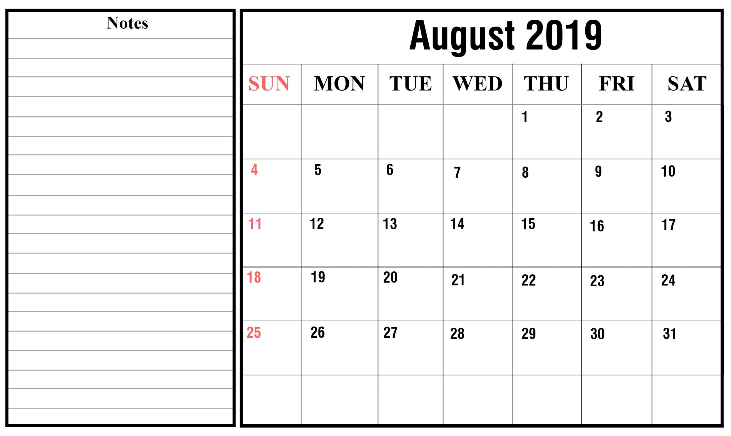 Free August 2019 Calendar Printable {Pdf, Excel, Word