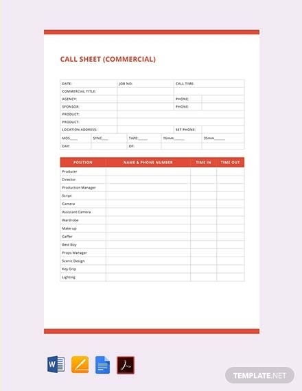Free Call Sheet Template - Pdf | Word (Doc) | Apple (Mac