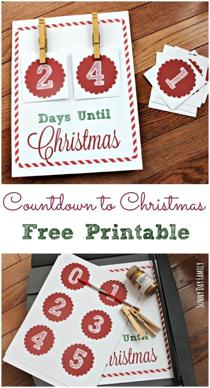 Free Christmas Countdown Printable Sign | Christmas