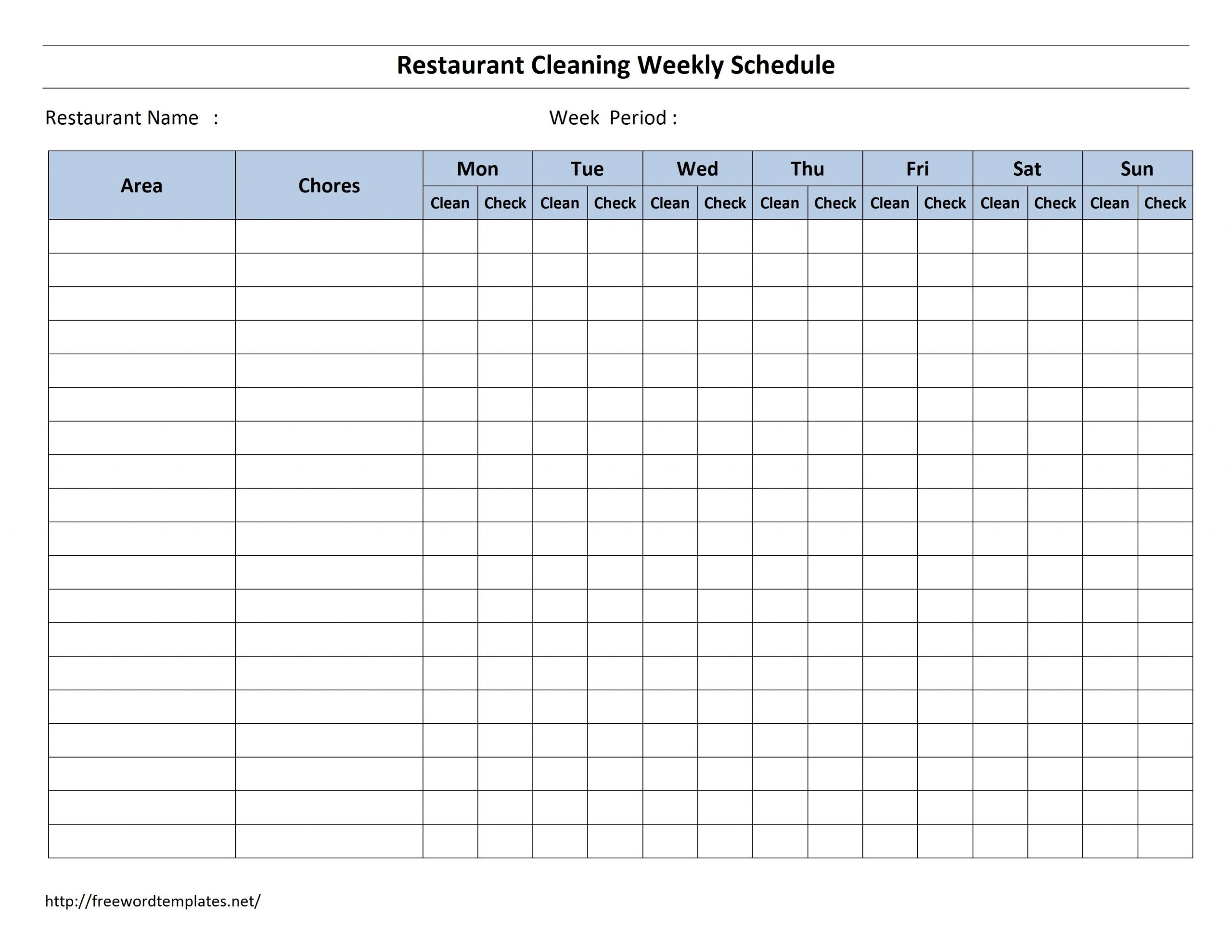 Free Cleaning Schedule Forms | Excel Format And Payroll