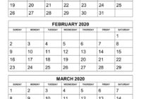 Free Download Printable Calendar 2020, 3 Months Per Page, 4