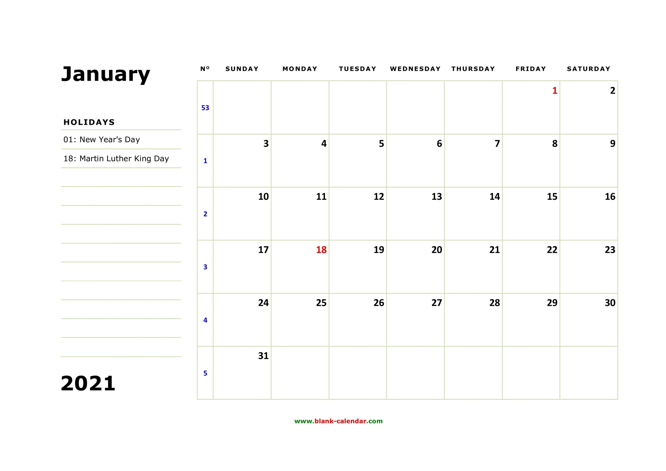 Free Download Printable January 2021 Calendar, Large Box