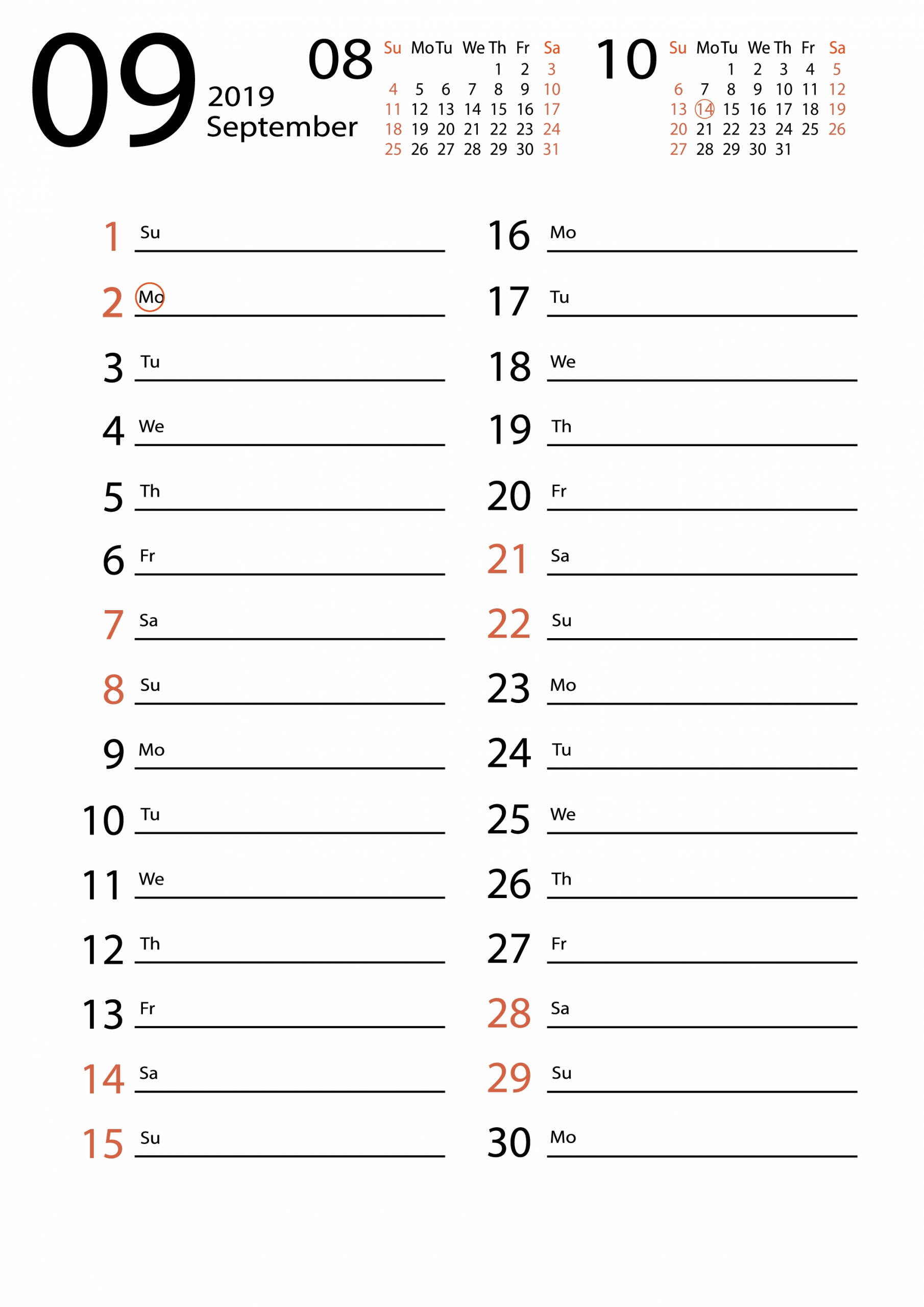 Free Download September 2019 Calendar Templates