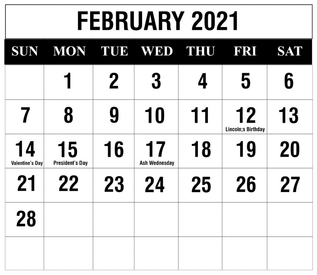 Free February 2021 Printable Calendar Template In Pdf