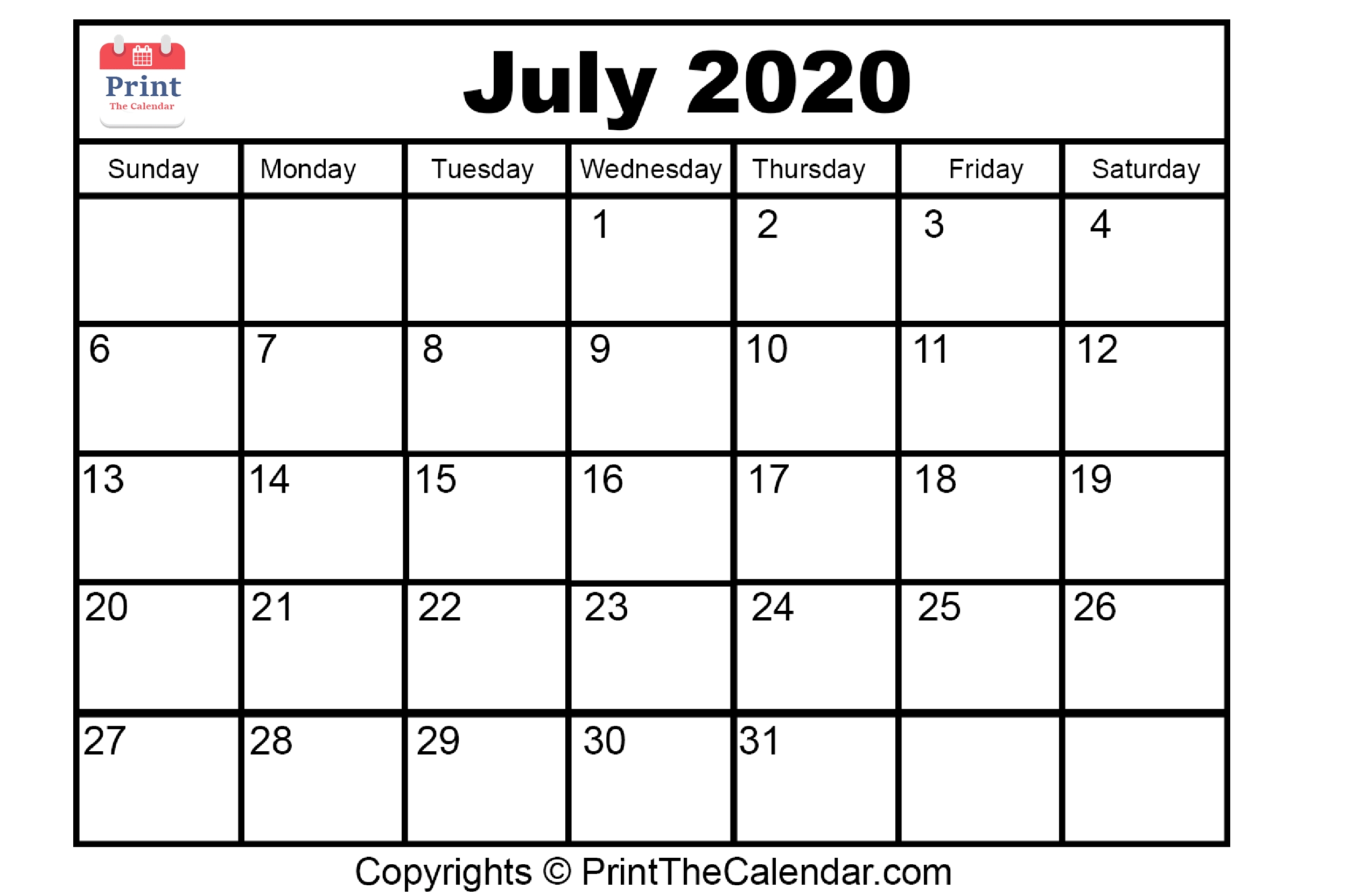 Free}*^ July 2020 Printable Calendar For Word, Excel & Pdf