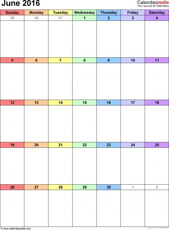 Free June 2016 Filliable Calendar :-Free Calendar Template
