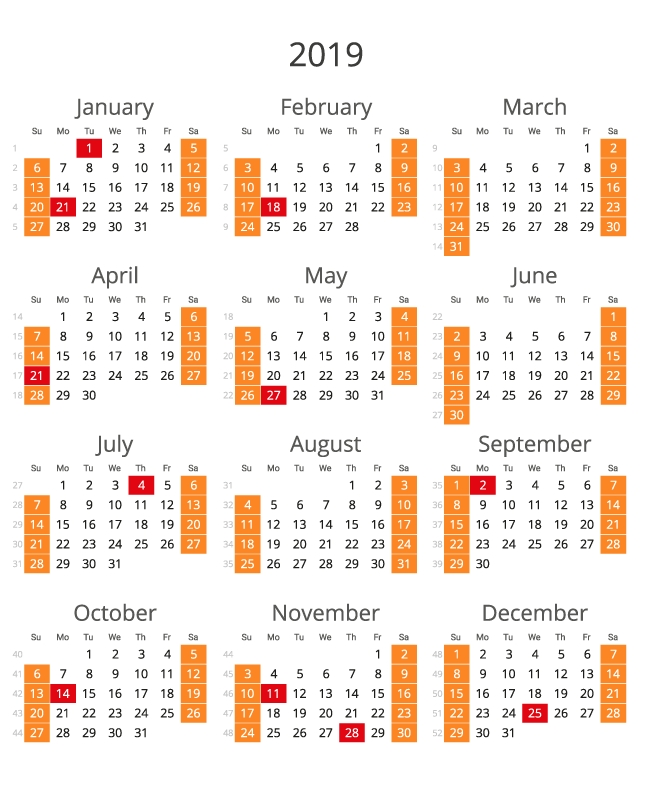 Free Printable 2019 Calendar For The United States - All