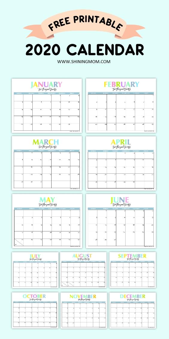 Free Printable 2020 Calendar: So Beautiful & Colorful!