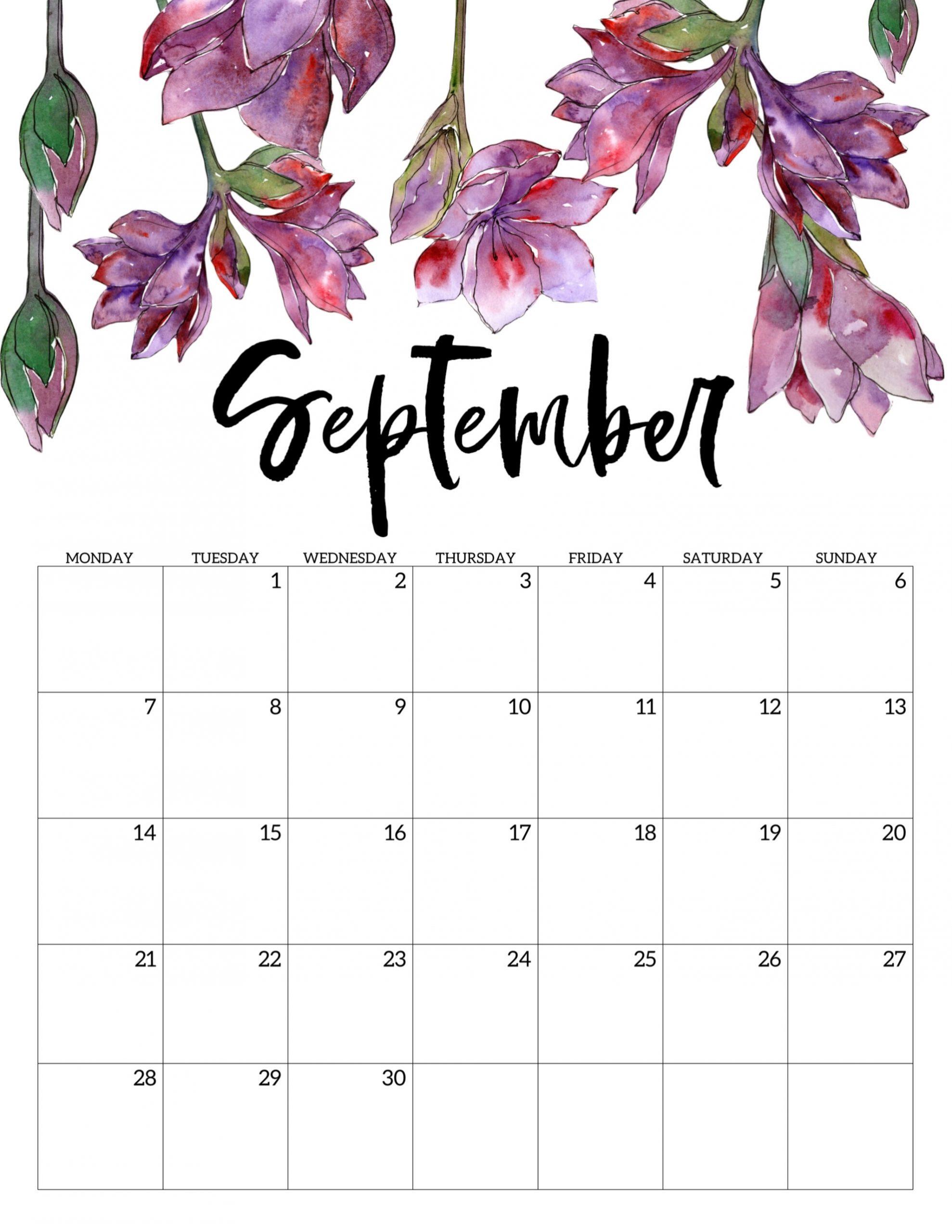 Free Printable 2020 Monday Start Calendar {Floral}   Paper
