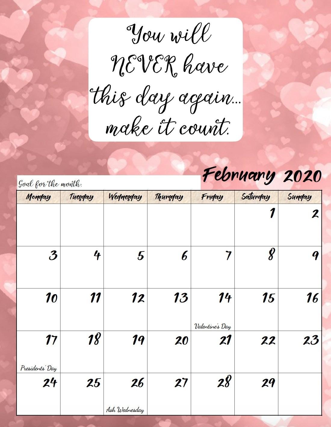 Free Printable 2020 Monday Start Monthly Motivational Calendar
