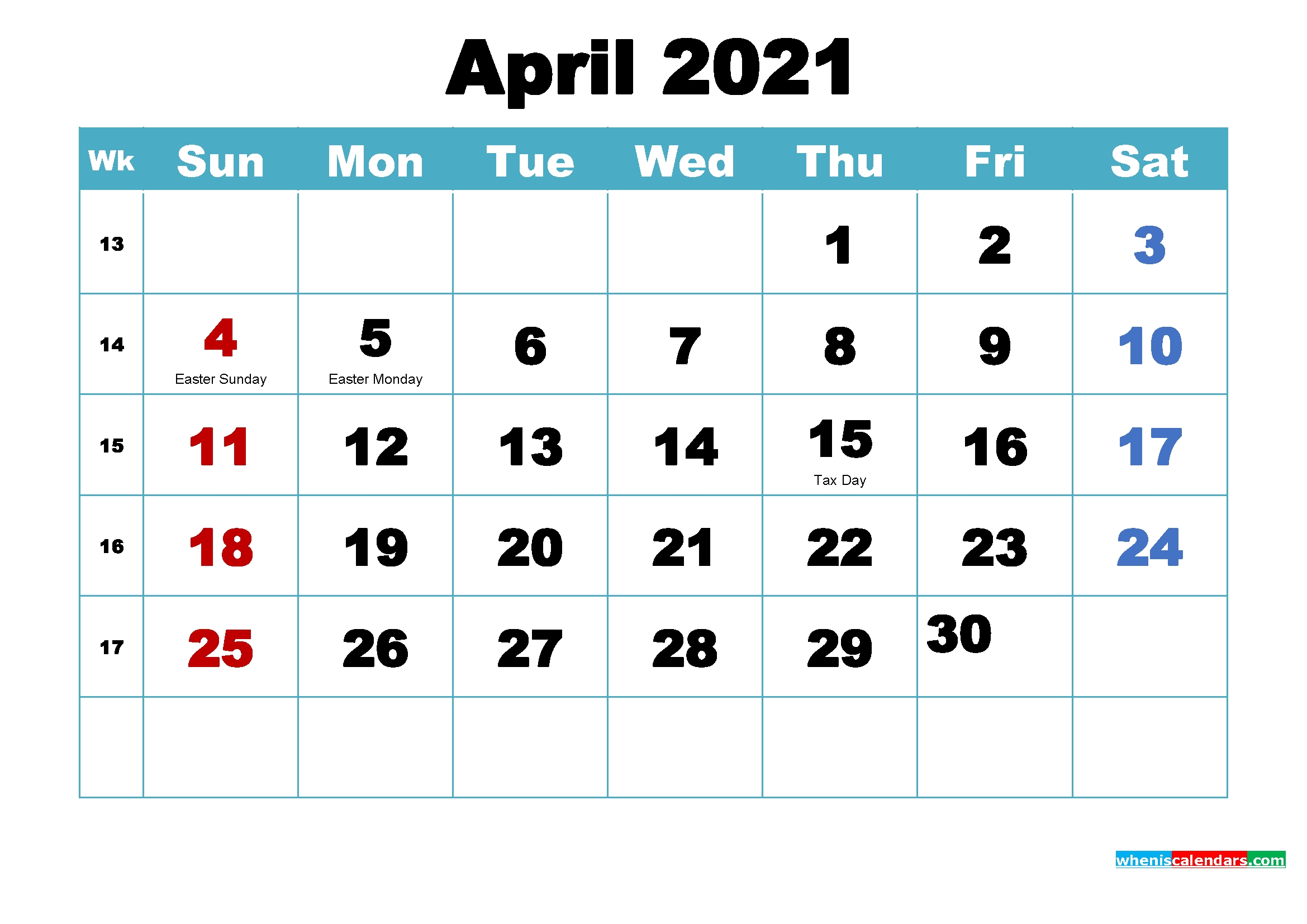 Free Printable 2021 Calendar April As Word, Pdf | Free