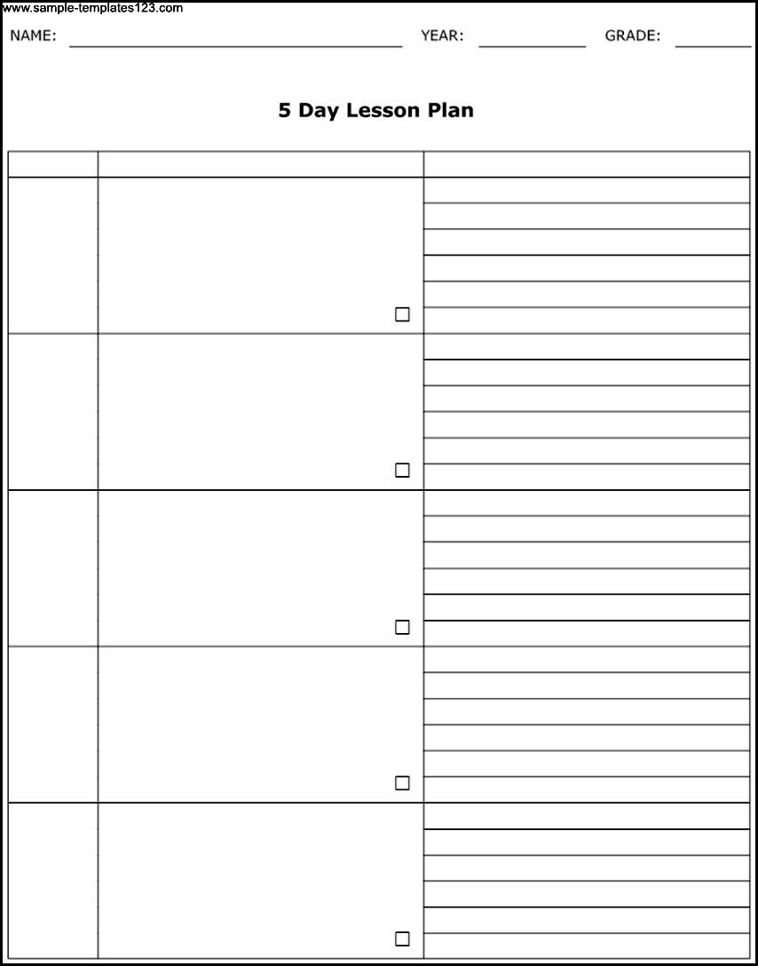 Free Printable 5 Day Calendar Template   Printable