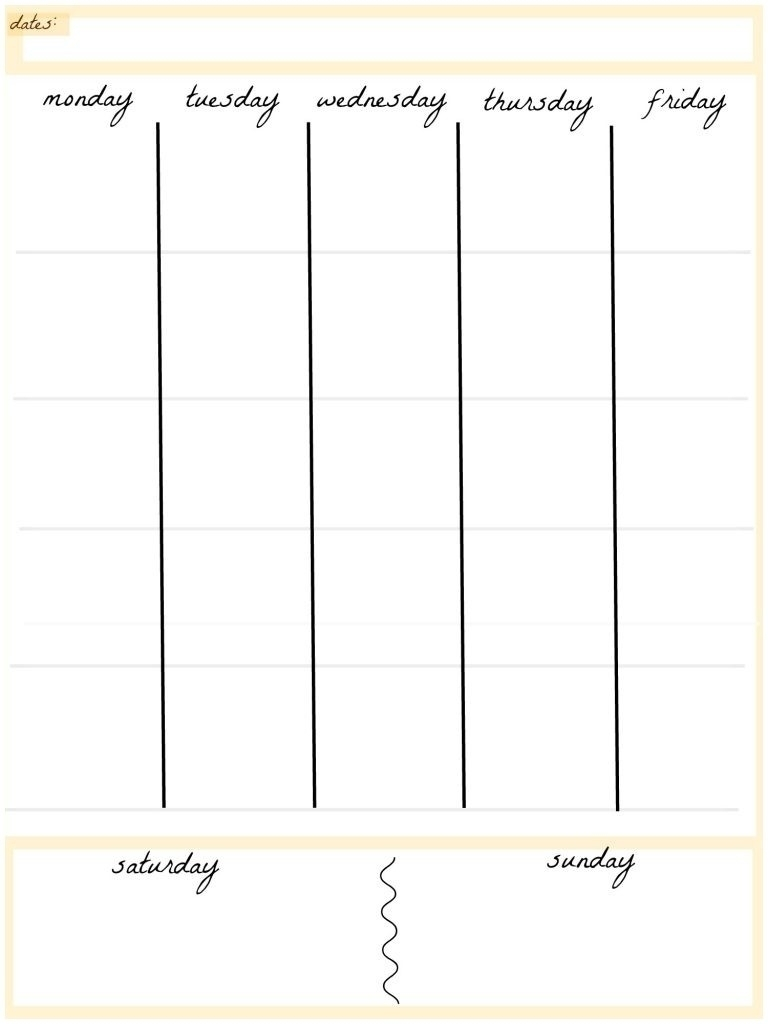 Free Printable 5 Day Monthly Calendar 2018 – Template