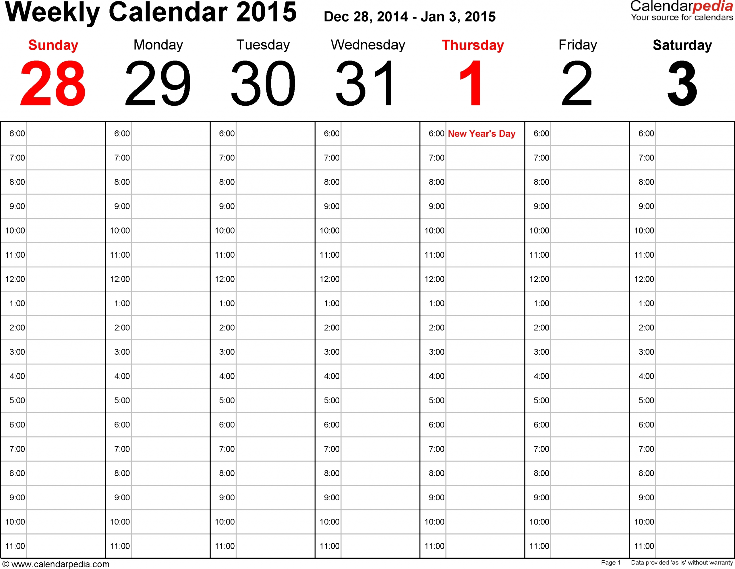 Free Printable 7 Day 15 Minute Appointment Calendar Sheets