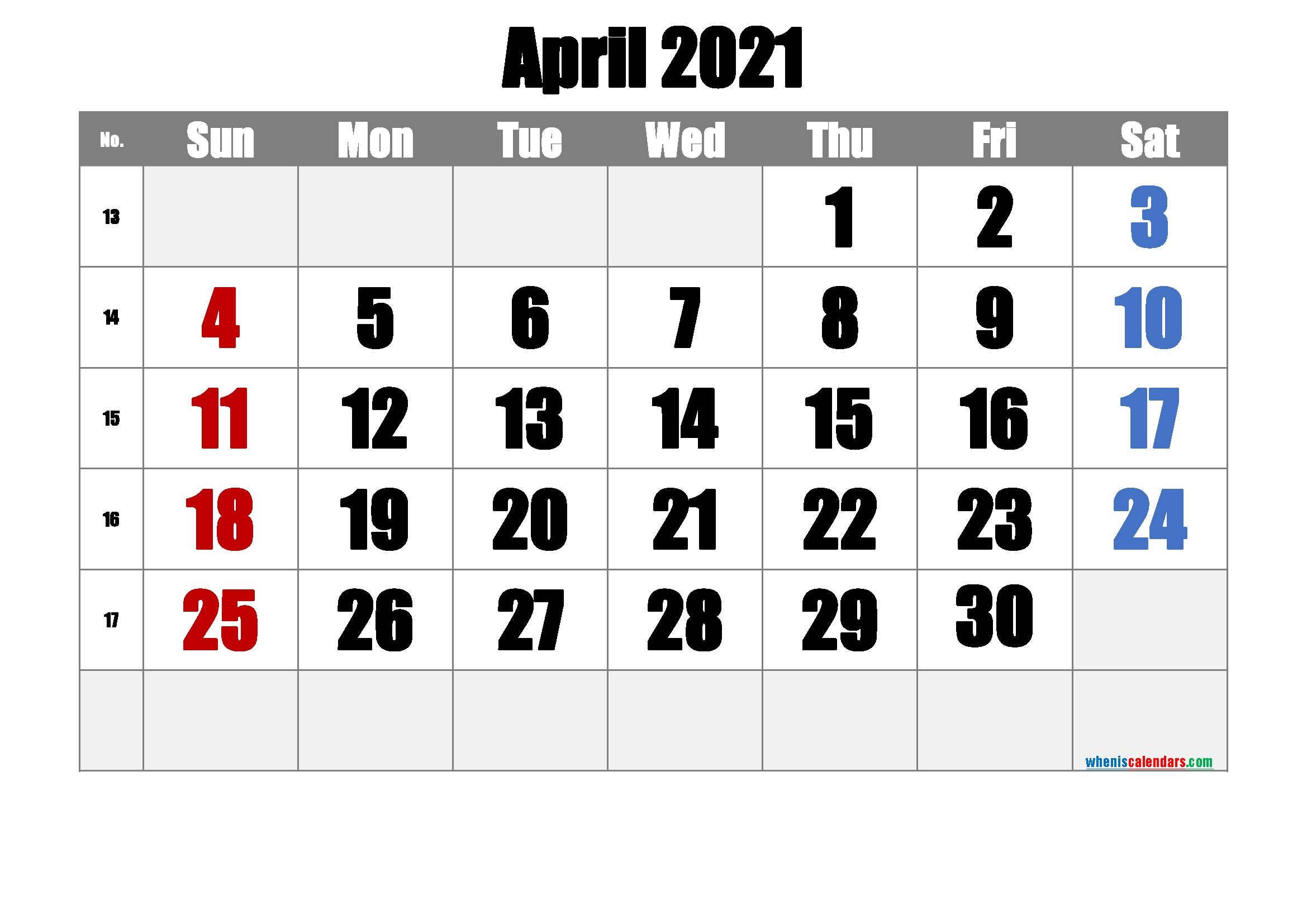 Free Printable April 2021 Calendar [Free Premium] | Free