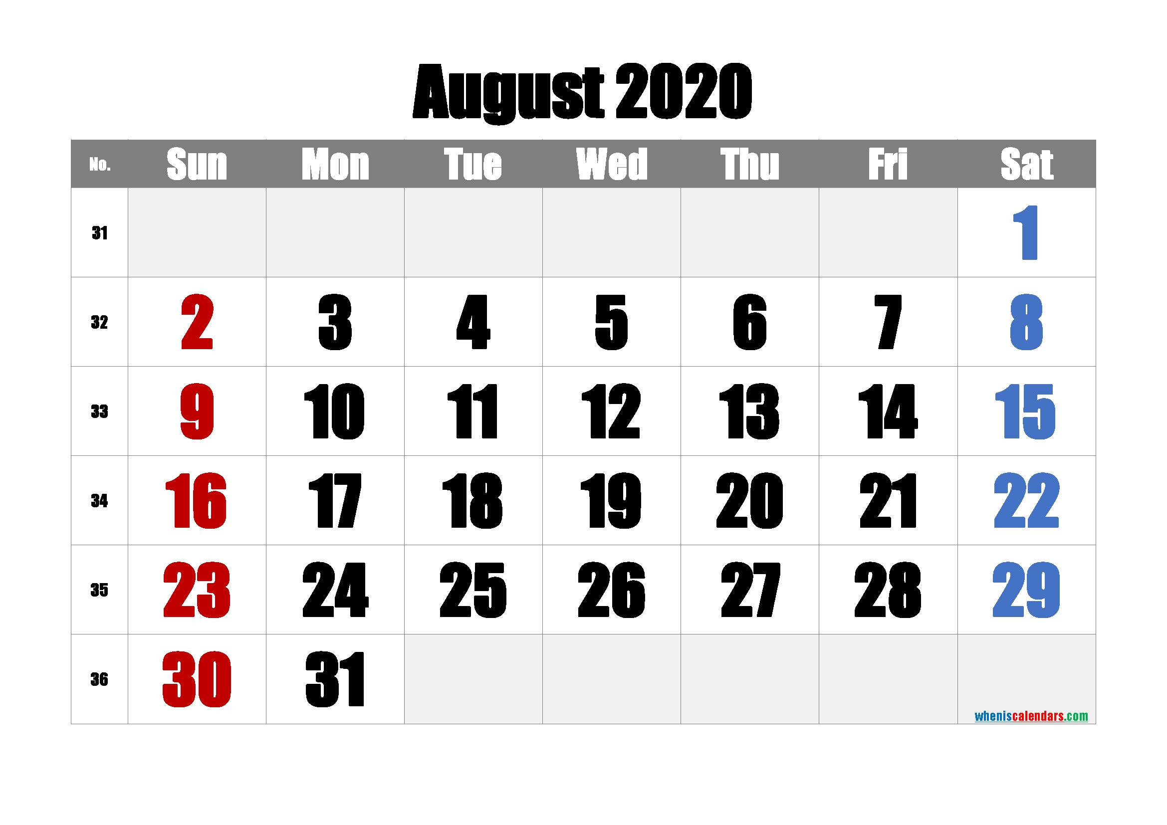 Free Printable August 2020 Calendar [Free Premium] – Free