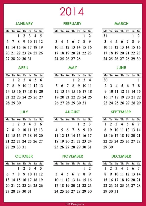 Free Printable Calendar 2014 With Holidays - Www