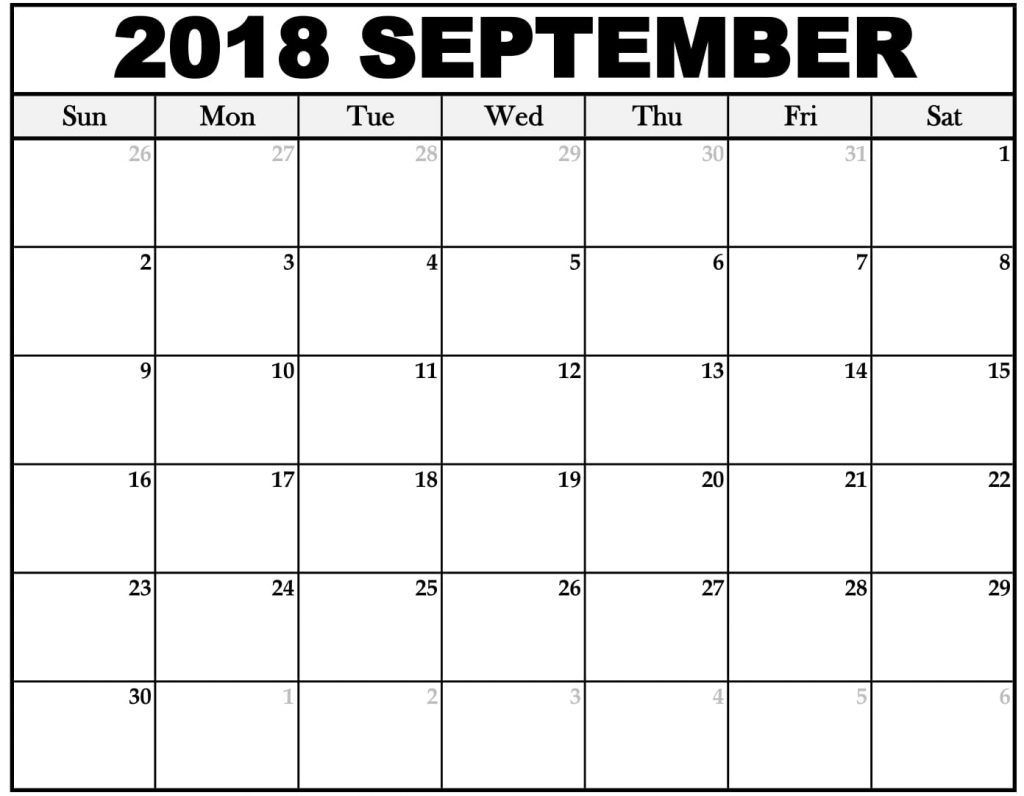Free Printable Calendar September 2018 Weekly And Monthly