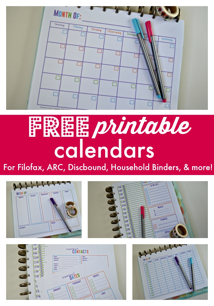 Free Printable Calendars For Your Filofax, Household