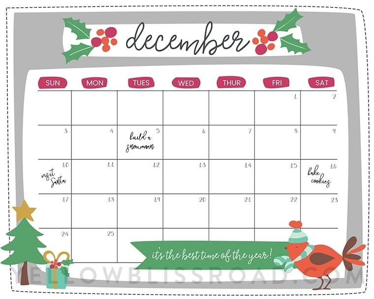 Free Printable Christmas Countdown Calendar For December