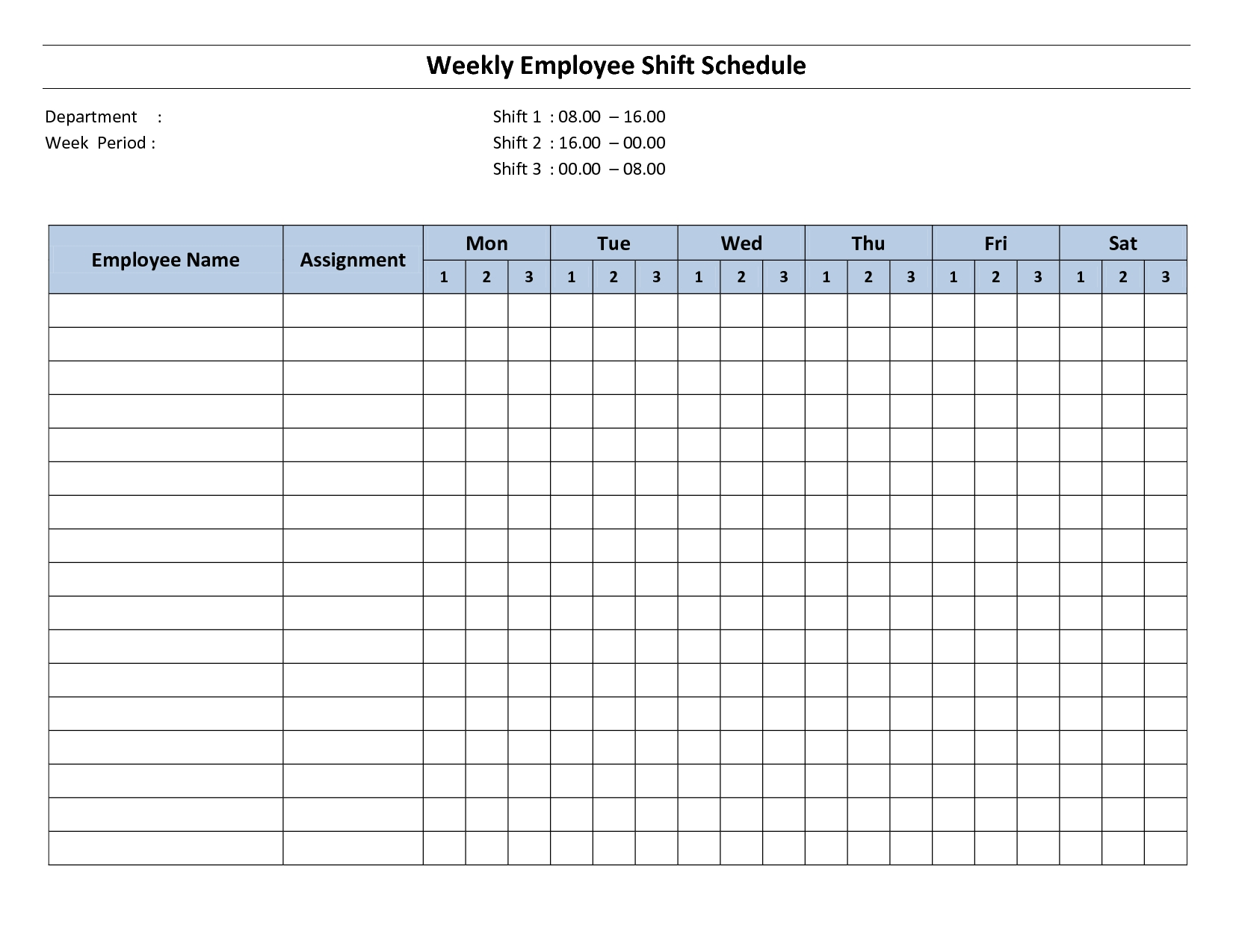Free Printable Employee Work Schedules | Weekly Employee
