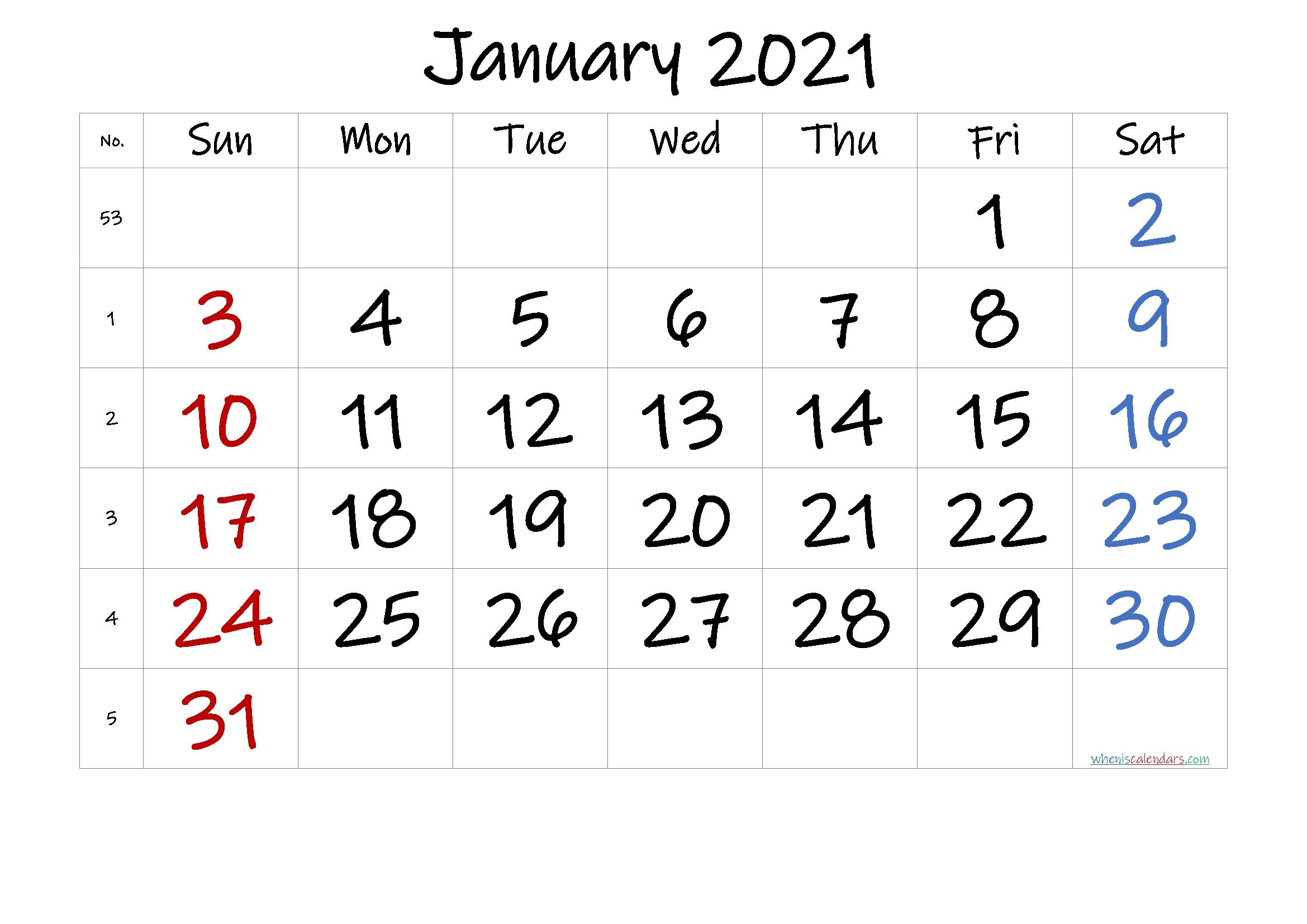 Free Printable January 2021 Calendar (Premium) In 2020