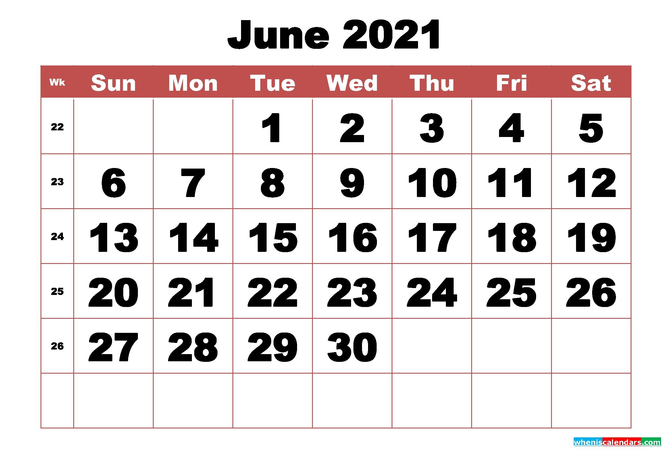 Free Printable June 2021 Calendar With Week Numbers | Free