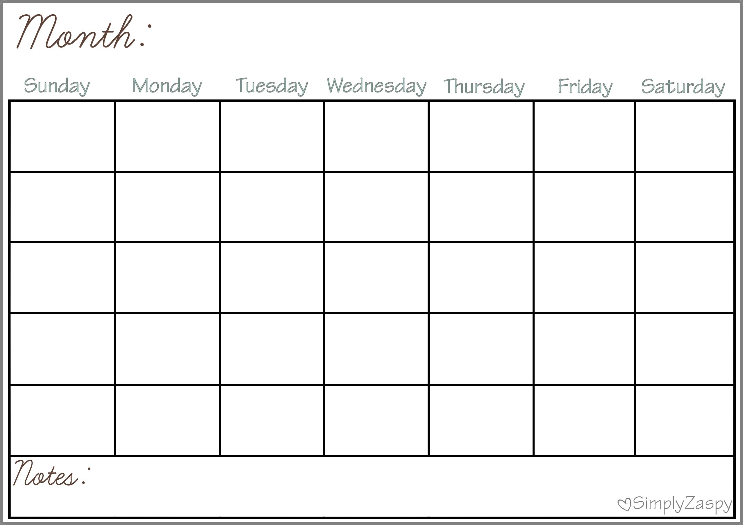 Free Printable Large Grid Calendar | Ten Free Printable