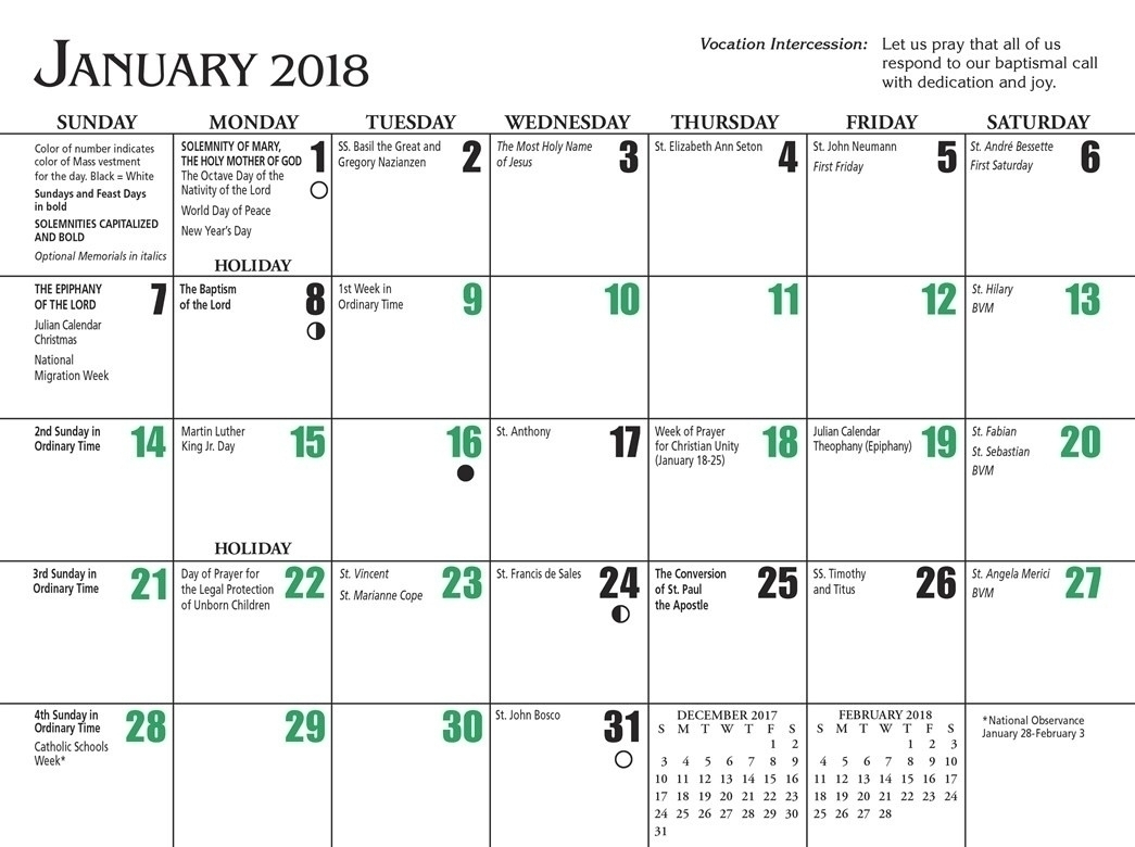 Free Printable Liturgical Calendar | Ten Free Printable