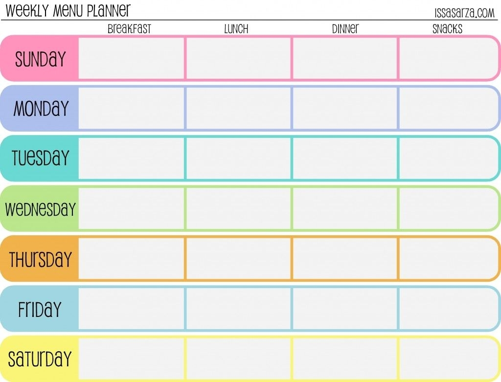 Free Printable Menu Planners - Fill In Day Of The Week