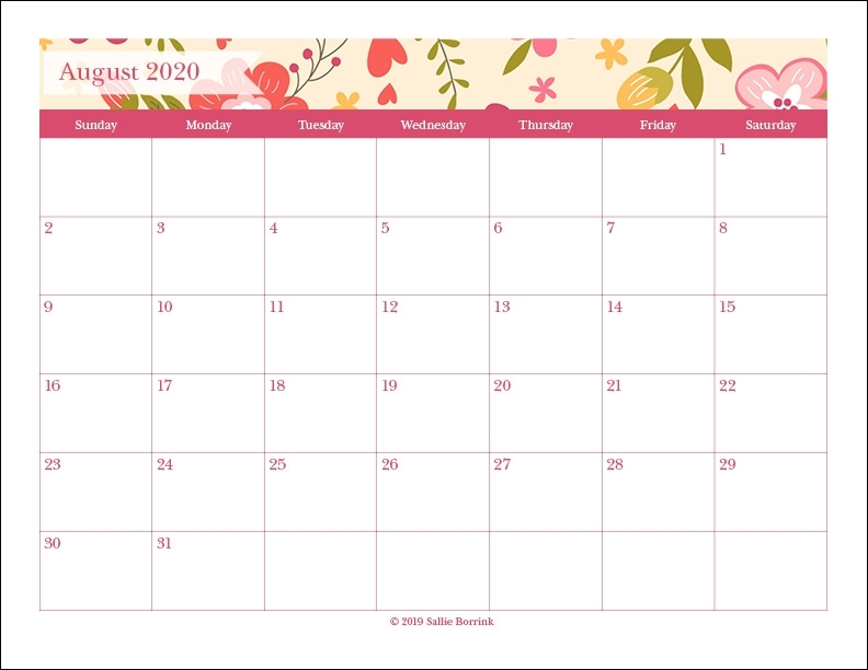Free Printable Monthly Calendars {2020} - A Quiet Simple