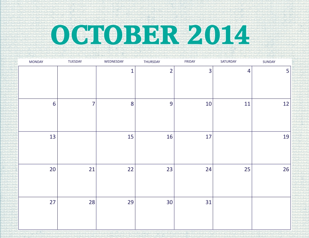 Free Printable October 2014 Calendar