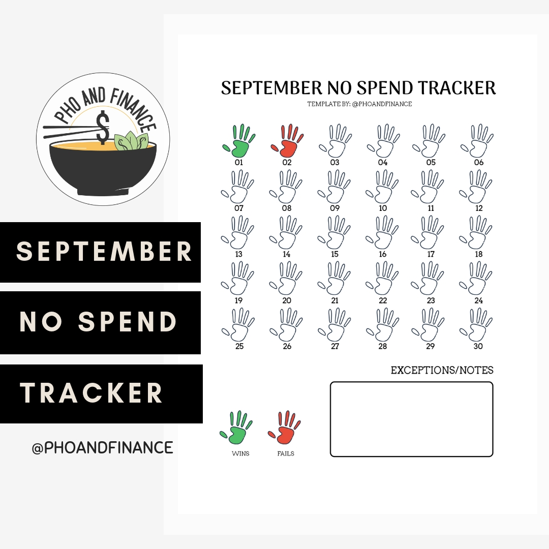 Free Printable: September No Spend Tracker - Kafe House